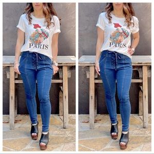Best Fitting lace up side pockets skinny jeans